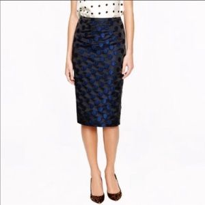J. Crew No. 2 Pencil Skirt Dot Brocade #26536 Sz 4